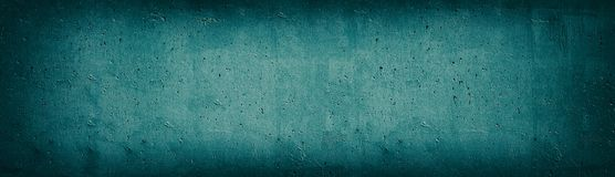 Free Teal Old Concrete Wall Wide Texture. Rough Cement Panoramic Retro Background. Long Dark Turquoise Vintage Backdrop Royalty Free Stock Photos - 154748238