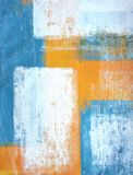 Teal and Orange Abstract Art Painting stock illustration