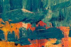 Teal and Orange Abstract Painting Stock Photography