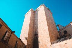 Old Torre dell`elefante in Cagliari. Teal and orange at the old city part in Cagliari, shoot of the elephant tower royalty free stock photo