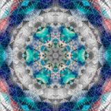 Teal patchwork mandala, kaleidoscope, abstract, blossom. Teal patchwork mandala, kaleidoscope, blossom Stock Photo