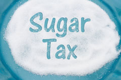Teal Plate with a lot of sugar with text Sales Tax Royalty Free Stock Photography