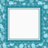 Teal Polka Dot Frame Background Foto de archivo libre de regalías