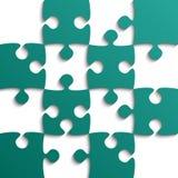 Teal Puzzle Pieces - puzzle - campo per scacchi Fotografie Stock Libere da Diritti