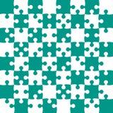 Teal Puzzle Pieces - Figuurzaagvector - Gebiedsschaak Stock Afbeelding