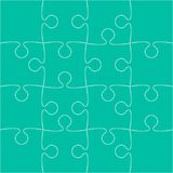 16 Teal Puzzle Pieces - JigSaw - Vector. 16 Teal Puzzle Pieces Arranged in a Square - JigSaw - Vector Illustration Royalty Free Stock Image
