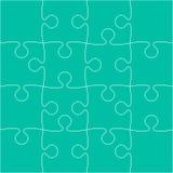 16 Teal Puzzle Pieces - Laubsäge - Vektor Lizenzfreies Stockbild