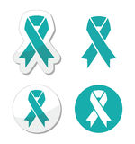 Teal ribbon - ovarian, cervical, and uterine cancers symbol stock illustration