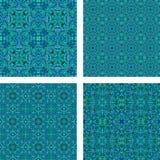 Teal seamless mosaic pattern set. Teal seamless triangle mosaic pattern design set Royalty Free Stock Photo