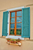 Teal Shuttered Window Stock Image