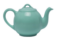 Teal Teapot Against White Background Royaltyfri Foto