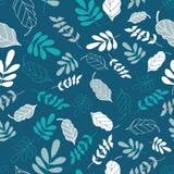Teal Tossed Floral en de Bladeren mengen Naadloos Patroon vector illustratie