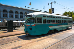 The teal tram in San Francisco Royalty Free Stock Photo