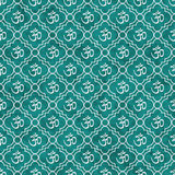 Teal and White Aum Hindu Symbol Tile Pattern Repeat Background Stock Image