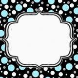 Teal, White and Black Polka Dot Frame Background Stock Image