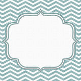 Teal and White Chevron Frame with Embroidery Background. With center for copy-space, Classic Chevron Frame Royalty Free Stock Photos