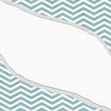 Teal and White Chevron Frame with Torn Background Stock Photo