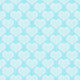 Teal and White Chevron Hearts Pattern Repeat Background Royalty Free Stock Photography