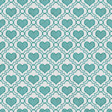 Teal and White Chevron Hearts Tile Pattern Repeat Background Royalty Free Stock Photography