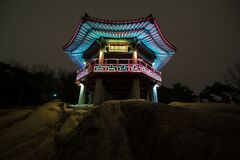 Teal White Chinese House Stock Image