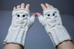 Teal White Crochet Fingerless Mitts Royalty Free Stock Images