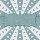 Teal and white hearts and burst lines background stock photography