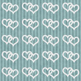 Teal and White Interlocking Hearts and Stripes Textured Fabric B Royalty Free Stock Photo