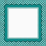 Teal and white polka dot square border with copy space Royalty Free Stock Image