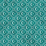 Teal and White Star and Crescent Symbol Tile Pattern Repeat Back Stock Photo