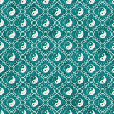 Teal and White Yin Yang Tile Pattern Repeat Background. That is seamless and repeats Stock Images