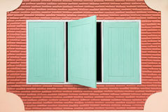 Teal wooden window Stock Image