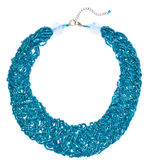 Teal Woven Bead Necklace Stock Image