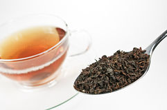 Tealeafs on a spoon Stock Photo