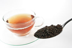 Tealeafs on a spoon Stock Image