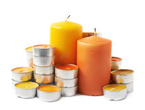 Tealight and candle composition isolated Stock Images