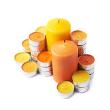Tealight and candle composition isolated Royalty Free Stock Photography