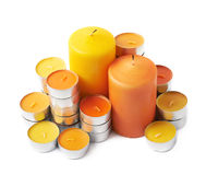 Tealight and candle composition isolated Stock Image