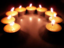Tealight Candles. A semi-circle of tealight candles Stock Photo