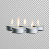 Tealight decorative candles vector set. Tealight decorative candles set. Vector 3D realistic  tea candle sticks with burning flames on transparent background Stock Images