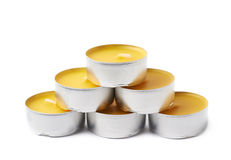 Tealight paraffin wax candle isolated Stock Photos