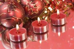 tealights красного цвета рождества Стоковая Фотография
