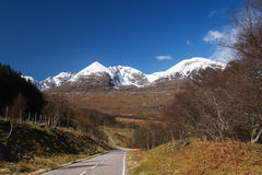 An teallach in spring. Scottish mountain An Teallach with springtime snow covering royalty free stock images