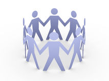 Team. 3D rendered Illustration. Paper people in a circle Royalty Free Stock Images