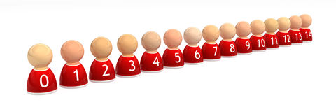Team 14 Row. Numbered small symbolic 3d figures, isolated Royalty Free Stock Photo