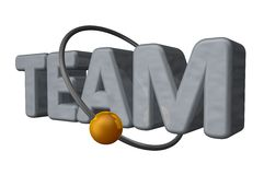 Team. Golden ball fly around the word team - 3d illustration Royalty Free Stock Photography