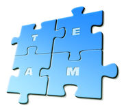 Team. Letters of word Team on isolated blue puzzle pieces on white background Vector Illustration