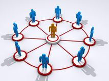 Team. Abstract people figures representing a team standing in a circle around a leader in the center Stock Photos