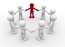 Team. Of 3d people in a circle with a leader- This is a 3d render illustration Royalty Free Stock Image