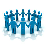 Team. 3d men holding hand in group with shadow vector illustration