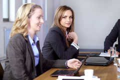 Team of 2 business people working on laptops Stock Images